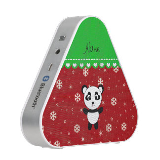 Custom name panda red snowflakes green stripe speaker