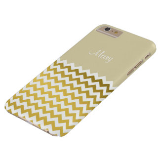 Custom Name Parchment Cream, Gold & White Chevron Barely There iPhone 6 Plus Case