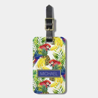 Custom Name Parrots And Tropical Fruit Bag Tags