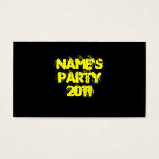 Custom Name. Party 2011. Yellow and Black Business Card