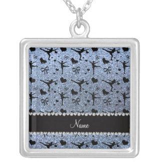 Custom name pastel blue glitter figure skating jewelry