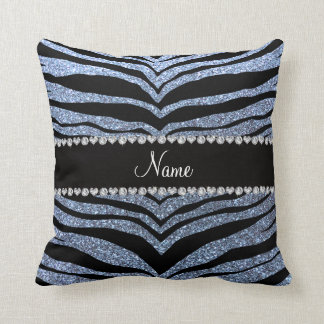 Custom name pastel blue glitter tiger stripes throw pillow