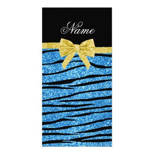 Custom name pastel blue glitter zebra stripes bow photo greeting card