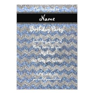 "Custom name pastel blue silver glitter chevrons 5"" x 7"" invitation card"