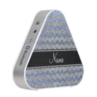 Custom name pastel blue silver glitter chevrons speaker
