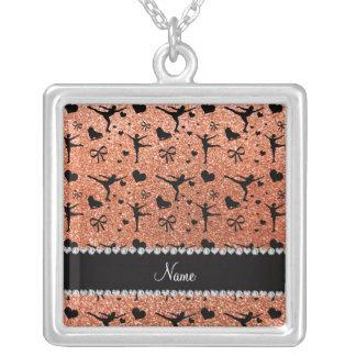 Custom name pastel orange glitter figure skating square pendant necklace