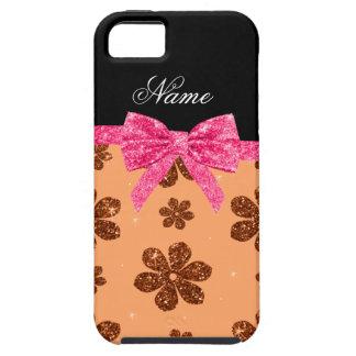Custom name pastel orange glitter flowers pink bow iPhone 5 covers