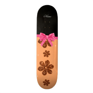 Custom name pastel orange glitter flowers pink bow skateboard deck