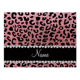 Custom name pastel pink glitter cheetah print postcard
