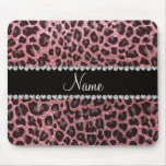 Custom name pastel pink glitter leopard print mouse pads
