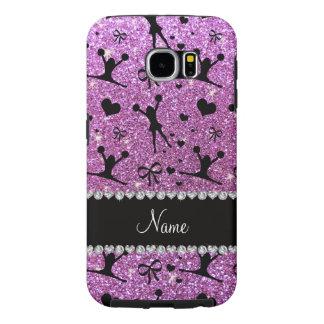 Custom name pastel purple glitter cheerleading samsung galaxy s6 cases