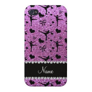 Custom name pastel purple glitter figure skating iPhone 4/4S cover