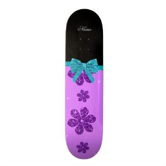 Custom name pastel purple glitter flowers bow 18.1 cm old school skateboard deck