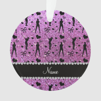 Custom name pastel purple glitter golf hearts bows