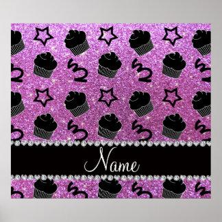 Custom name pastel purple glitter stars cupcakes poster