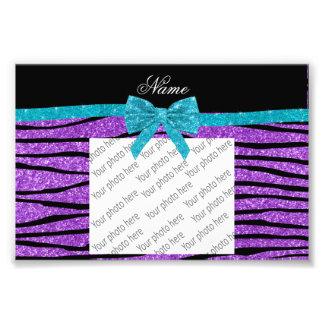 Custom name pastel purple glitter zebra stripes photo art