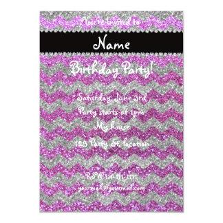 "Custom name pastel purple silver glitter chevrons 5"" x 7"" invitation card"