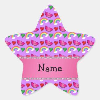 Custom name pastel purple watermelons rainbows star sticker