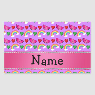 Custom name pastel purple watermelons rainbows rectangular sticker