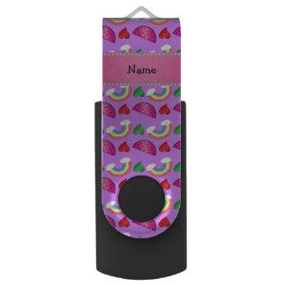Custom name pastel purple watermelons rainbows swivel USB 2.0 flash drive