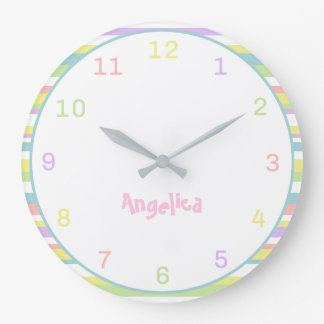 Custom Name Pastel Stripes Wall Clock For Nursery