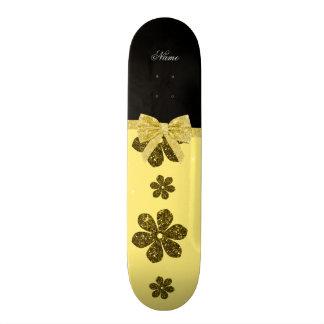 Custom name pastel yellow glitter flowers bow skate decks