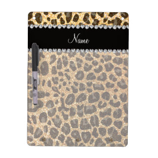 Custom name pastel yellow glitter leopard print Dry-Erase board