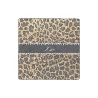 Custom name pastel yellow glitter leopard print stone magnet