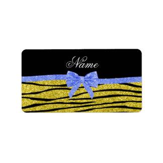 Custom name pastel yellow glitter zebra stripes address label