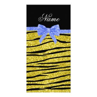 Custom name pastel yellow glitter zebra stripes photo greeting card