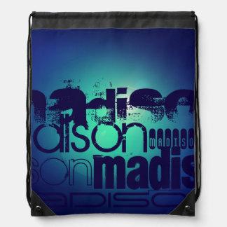 Custom Name Pattern on Aqua Blue Background Drawstring Bag