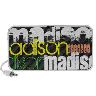 Custom Name Pattern on Black & Gray Stripes Mp3 Speakers