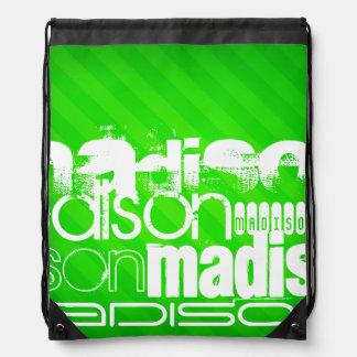 Custom Name Pattern on Neon Green Stripes Drawstring Bags
