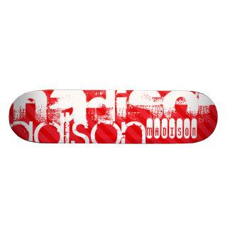 Custom Name Pattern on Red Diagonal Stripes Skate Board Deck