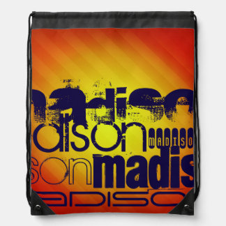 Custom Name Pattern; Yellow Orange Background Drawstring Bag