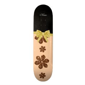 Custom name peach orange glitter flowers gold bow skate deck