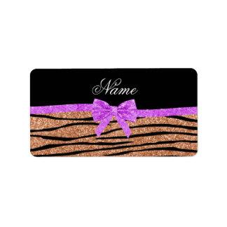Custom name peach orange glitter zebra stripes bow address label