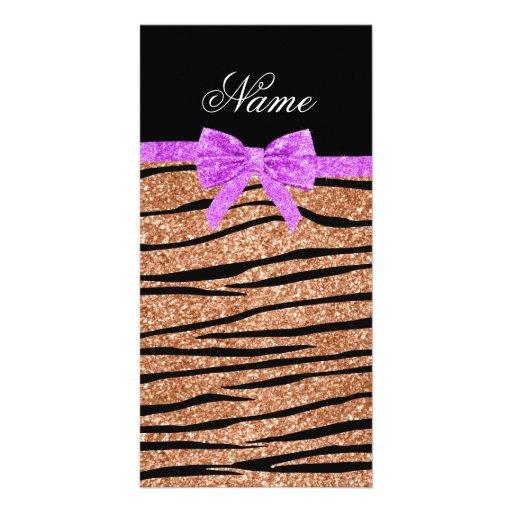 Custom name peach orange glitter zebra stripes bow picture card