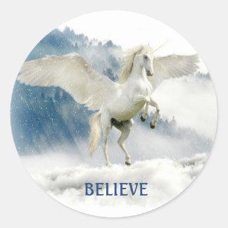 Custom Name Pegasus/Flying Unicorn Clouds Sticker