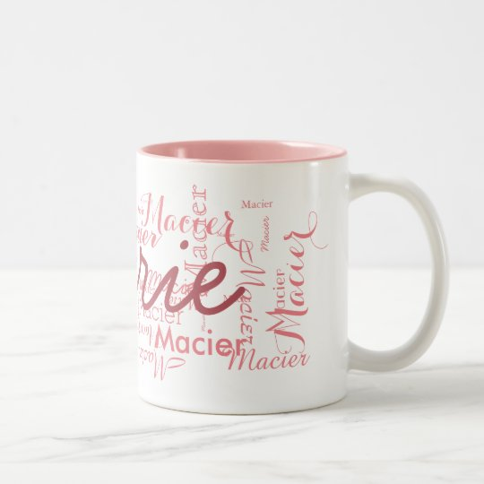 custom name personalised pink typography Two-Tone coffee mug