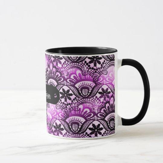 Custom Name Personalised Purple Lace Damask Mug