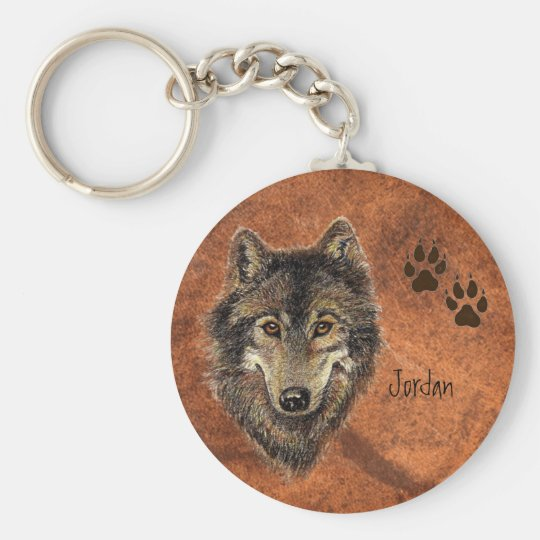 Custom Name Personalised Wolf & Tracks Key Ring