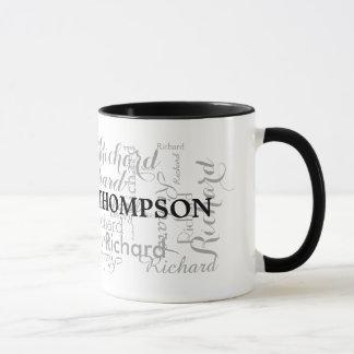 custom name personalized black typography mug
