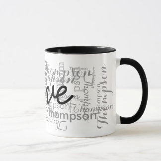 custom name personalized typography mug