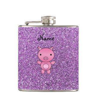 Custom name pig light purple glitter hip flask