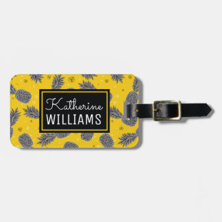 Custom Name Pineapples On Gold Luggage Tag