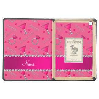Custom name pink bachelorette cocktails rings iPad air covers
