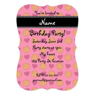 "Custom name pink basketballs and hearts 5"" x 7"" invitation card"