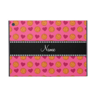Custom name pink basketballs and hearts cases for iPad mini