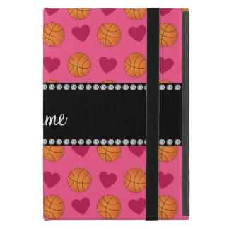 Custom name pink basketballs and hearts iPad mini case
